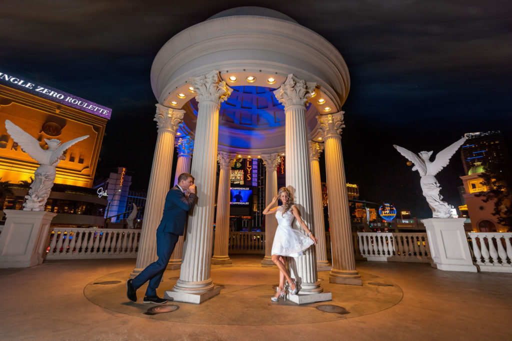 Bride and Groom at Caesar gazebo Las Vegas.