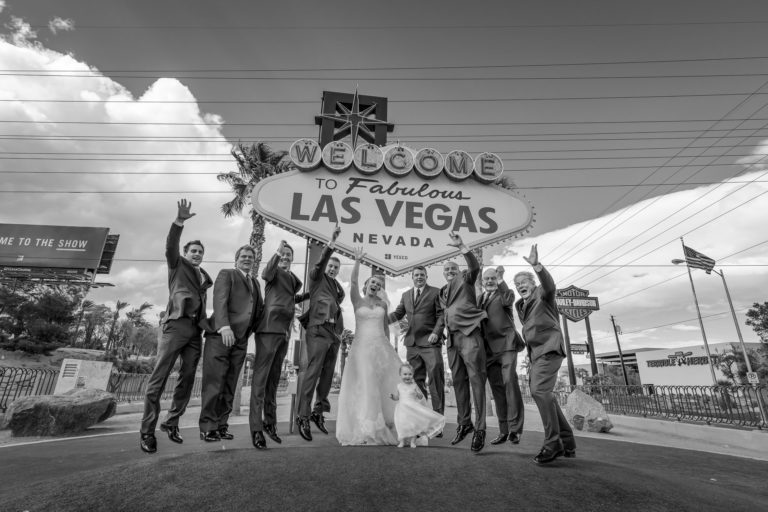Wedding party group shoot at Las Vegas Sign.