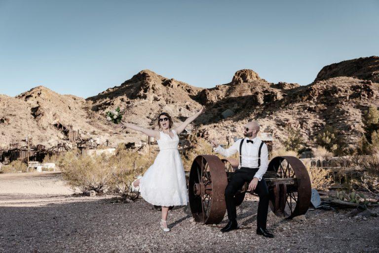 Las Vegas desert elopement wedding photographer | Nelson Ghost town wedding photography