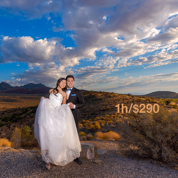A newlywed couple in the desert at Red Rock Canyon NV