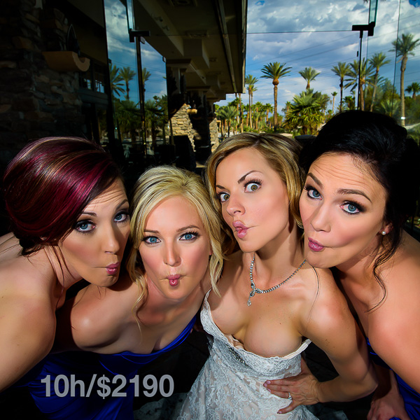 The bride and her bridesmaids in Las Vegas